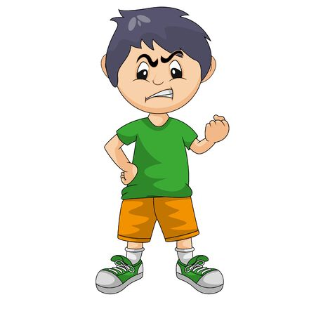 little boy angry with his hands clenched cartoon vector illustration Ilustracja