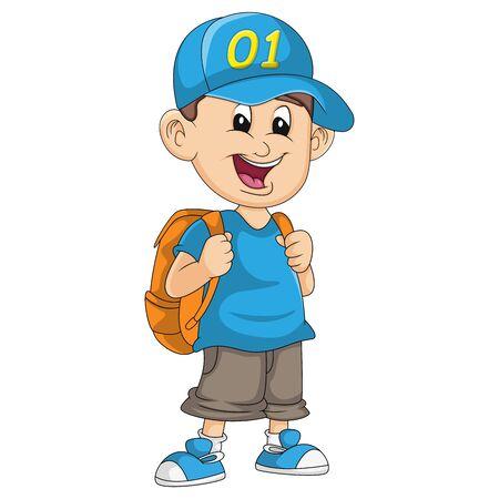 School boys carry bags cartoon vector illustration Иллюстрация