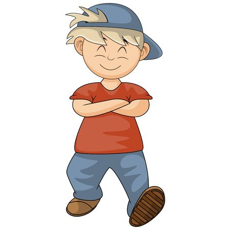 the boy walked casually while his hands folded cartoon vector illustration Ilustração