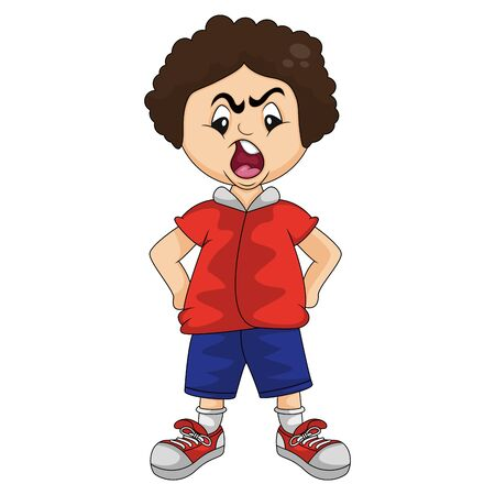 Angry boy with hands on hips cartoon vector illustration