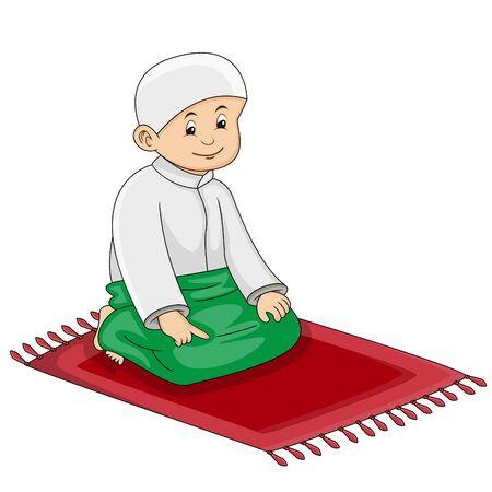 Muslim kid praying cartoon vector illustration