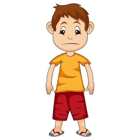il ragazzo è triste con indosso una maglietta arancione e pantaloni rossi illustrazione vettoriale dei cartoni animati
