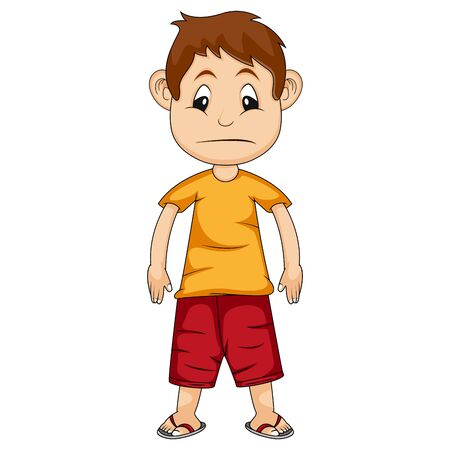 le garçon est triste portant une chemise orange et un pantalon rouge illustration vectorielle de dessin animé