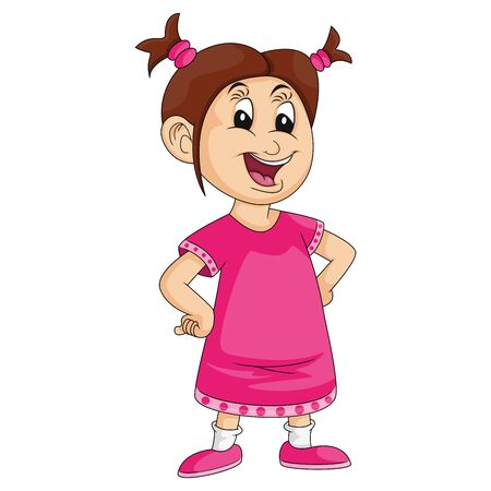 little girl in pink with hands on hips and smiling cartoon image illustration