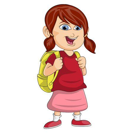 girl in the backpack wearing the red shirt and pink skirt is smiling cartoon vector illustration