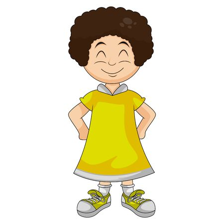 little girl in yellow with hands on hips and smiling cartoon image illustration