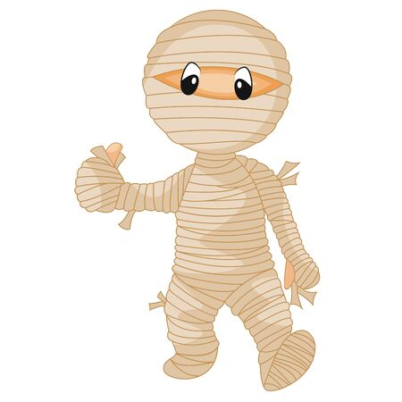 Mummy was holding his thumbs up while walking casually cartoon vector illustration