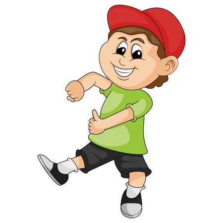 the boy wearing the red hat dances happily cartoon vector illustration