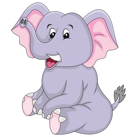 Elephant sitting with a smile cartoon vector illustration