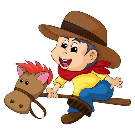 cowboy with a stick horse cartoon vector illustration