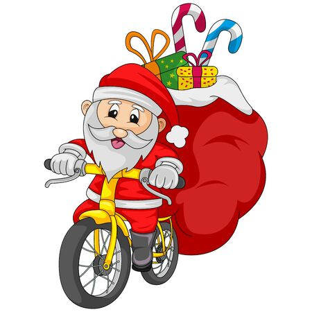 Santa claus riding a bicycle carrying a sack of gifts cartoon vector illustration
