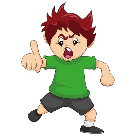 The boy is angry while pointing his finger cartoon vector illustration Ilustrace