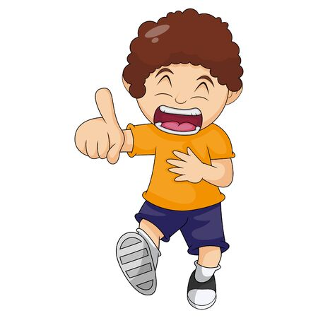 The boy laughed loudly cartoon vector illustration Ilustração