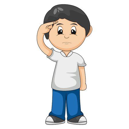 the boy give salute cartoon vector illustration  イラスト・ベクター素材