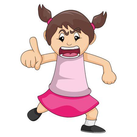 La niña está enojada mientras apunta su dedo ilustración vectorial de dibujos animados Ilustración de vector
