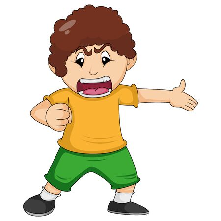 The boy is angry cartoon vector illustration Ilustracja