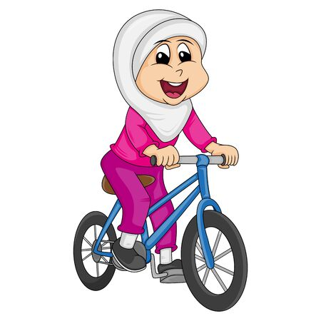 Girl muslim - a little woman wearing a hijab riding a bicycle cartoon vector illustration