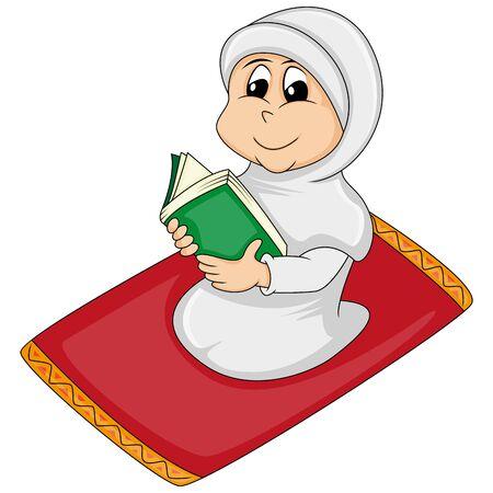 Niña musulmana leyendo Al Corán - ilustración vectorial de dibujos animados rezando