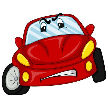 red car with eyes and mouth cartoon vector illustration