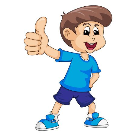 a boy in blue give thumbs up cartoon vector illustration