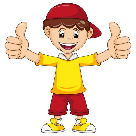 a boy give two thumbs up cartoon vector illustration