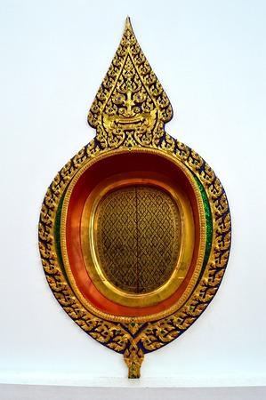 ordination: Thai painting window of Ubosot  ordination hall  at Wat Thong Nopakhun