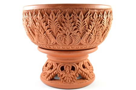 nonthaburi: Thai clay pottery tray with pedestal in traditional Mon style from Koh Kred island, Nonthaburi, Thailand