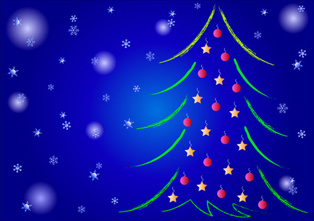 Night Christmas background with Christmas tree and snow Vector