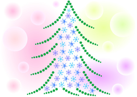 Snow Christmas tree on colorful background Vector