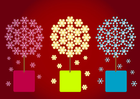 snow crystal: Snow crystal flower on red background