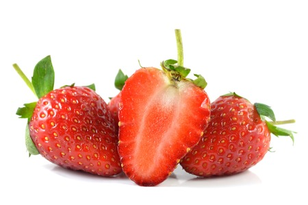 Strawberry, Fragaria sp., Family Rosaceae, Northern of Thailand Stock Photo