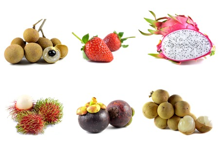 Fruits from Thailand on white background