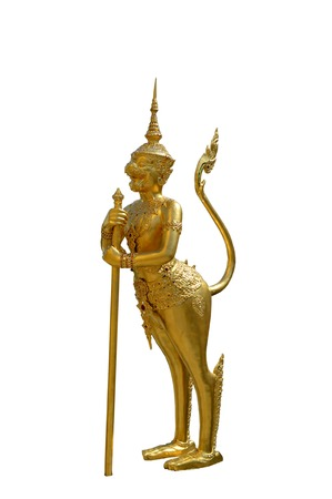 mythical: Singha Panorn, mythical creature between monkey and lion, Wat Phra Kaew, Bangkok, Thailand