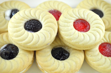 flavors: Sandwich cookies, Blueberry and strawberry flavors Stock Photo