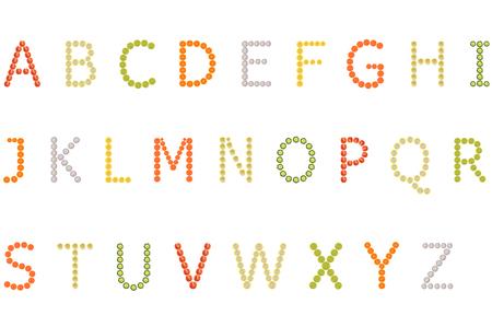 zea mays: A to Z alphabet on white background