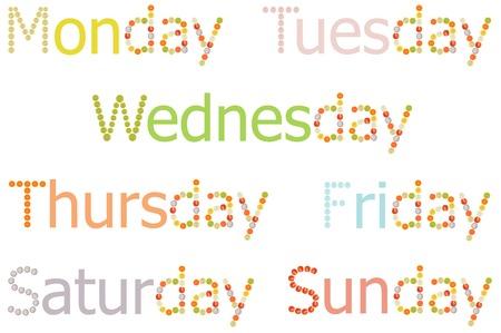 zea mays: Monday to Sunday word on white background
