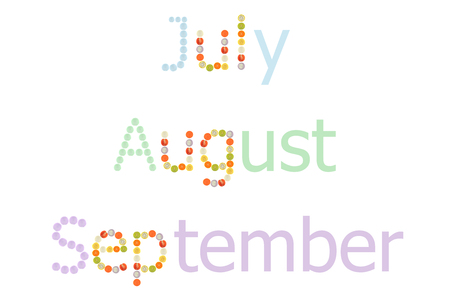 zea mays: July to September word on white background