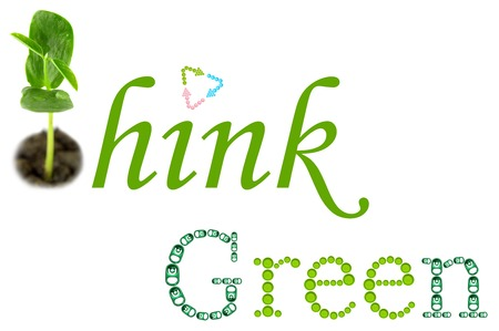 pink cap: Think Green word on white background Stock Photo