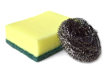 steel wool: Scrub sponge and steel wool on white background