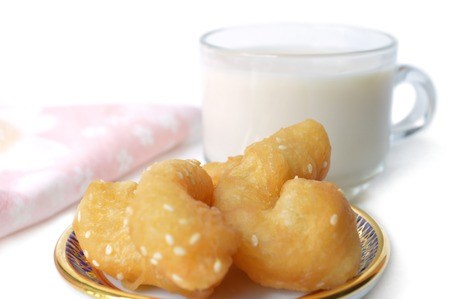 emulsion: Chinese cruller and soy milk on white background