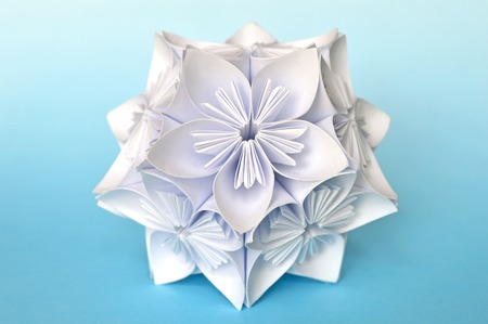 Origami kusudama flower ball on blue background stock photo picture origami kusudama flower ball on blue background stock photo picture and royalty free image image 61250160 mightylinksfo