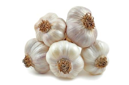 allium: Garlic, Allium sativum, on white background