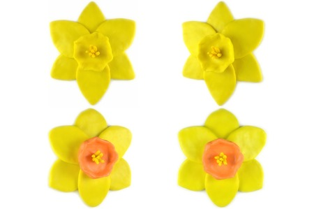 modelling: Modelling clay daffodil flower on white background