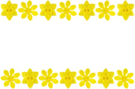 modelling clay: Modelling clay daffodil and golden gardenia flower on white background