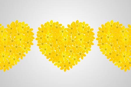 Golden gardenia floral heart shape on gray background Stock Photo
