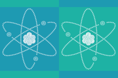 atomic structure: Atomic structure on blue and green background