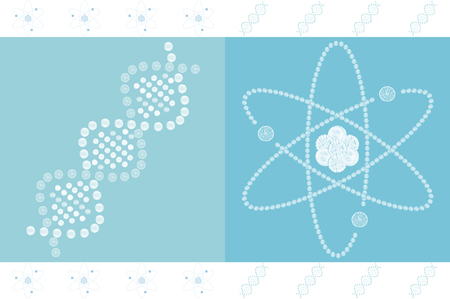 atomic structure: DNA and atomic structure on blue background
