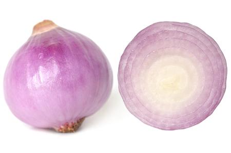 allium cepa: Onion, Allium cepa, on white background