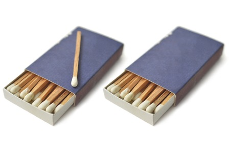 Wooden white matches in matchbox on white background Stock fotó