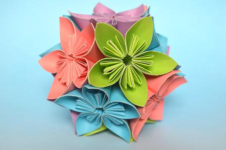 Origami Kusudama Flower Ball On Blue Background Stock Photo Picture